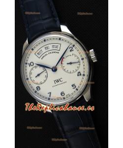 IWC Big Pilot Annual Calender Reloj con Caja de Acero Correa Azul Réplica a Espejo 1:1 IW503501