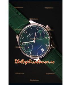 IWC Portugieser Swiss 1:1 Reloj Replica a Espejo Dial Verde, Caja en Acero