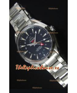 Omega Seamaster COAX GMT Reloj Suizo de Acero Inoxidable Dial Negro