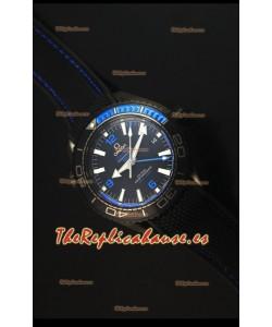 Omega Seamaster Planet Ocean Deep Black Blue GMT Reloj Replica Suizo Edición 1:1