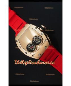 Richard Mille RM053 Tourbillon Pablo Mac Donough Reloj Suizo en Caja de Oro Rosado Correa Roja