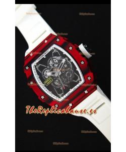 Richard Mille RM35-01 Reloj con Caja de Carbón Forjado Rojo de una sola Pieza en Correa color Blanco