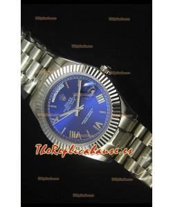 Rolex Day Date Dial Azul Oscuro Reloj Replica 40MM - Movimiento Suizo 3255