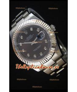 Rolex Datejust II 41MM Reloj Replica Suizo con Movimiento Cal.3136 Dial en color Gris, Marcadores de Hora en Diamantes