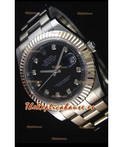 Rolex Datejust II 41MM Reloj Replica Suizo con Movimiento Cal.3136 Dial en color Negro, Marcadores de Hora en Diamantes