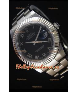 Rolex Datejust II 41MM Reloj Replica Suizo con Movimiento Cal.3136 Dial en color Negro, Numerales de Hora en Numeros Romanos