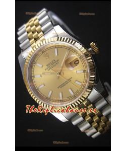 Rolex Datejust Reloj Replica en Oro Dial 36MM con Movimiento Suizo 3135