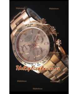 Rolex Daytona Rose Gold Casing with Baguette Diamonds Markers Swiss Replica Watch