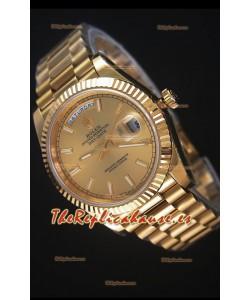 Rolex Day-Date 40MM Reloj Replica Dial en Oro Marcadores tipo Stick Movimiento Suizo Cal.3255