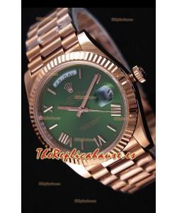 Rolex Day-Date 40MM Reloj Suizo en Oro Rosado y Dial en color Verde con Numerales en Numeros Romanos