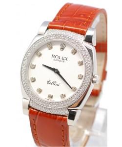 Rolex Celleni Cestello Reloj Suizo Señoras con Esfera Blanca, Correa de Piel, Diamantes en Horas, Bisel y Terminales