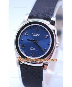 Rolex Celleni Cestello Reloj Suizo Señoras Esfera Azul plata y Correa de Nilón