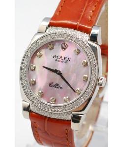 Rolex Celleni Cestello Reloj Suizo Señoras Penk con Esfera Perla, Correa de Piel con Diamantes en Horas, Bisel y Terminales