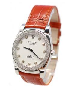 Rolex Celleni Cestello Reloj Suizo Señoras con Esfera Blanca, Correa de Piel, Diamantes en Bisel y Marcas de Hora