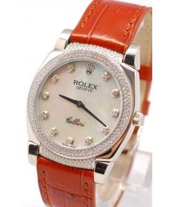 Rolex Celleni Cestello Reloj Suizo Señoras con Esfera Perla Blanca, Correa de Piel, Diamantes en Horas, Bisel y Terminales