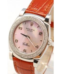 Rolex Celleni Cestello Reloj Suizo Señoras Penk con Esfera Perla, Correa de Piel y Diamantes en Bisel
