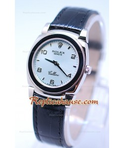 Rolex Celleni Cestello Reloj Suizo Señoras Esfera Plata y Correa Azul