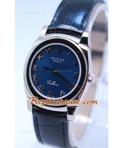 Rolex Celleni Cestello Reloj Suizo Señoras Romano todo Azul
