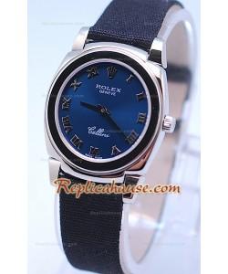 Rolex Celleni Cestello Reloj Suizo Señoras Esfera Romana Azul Plata y Correa de Nilón