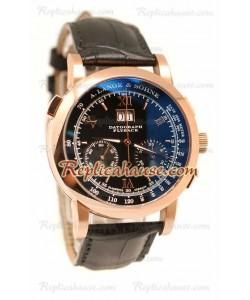 A. Lange Sohne Datograph Flyback Cronógrafo Cuero Suizo Reloj