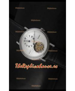 Breguet Classique Reloj Réplica Suizo Tourbillon en Acero Inoxidable con Bisel de Diamantes