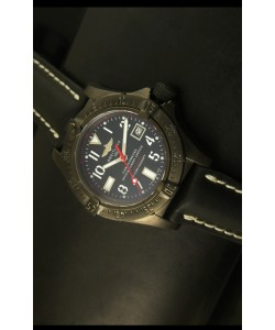 Breitling Seawolf Revestimiento PVD, Reloj Suizo Correa Negra
