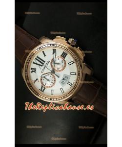 Calibre De Cartier, Reloj cronógrafo Réplica Japonesa, color Oro Rosado