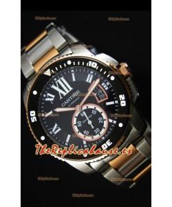 Calibre De Cartier Reloj con Caja de Acero 42MM Dial Negro Color de la Caja en Dos Tonos -  Reloj Réplica Espejo 1:1