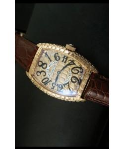 Franck Muller Casablanca Gold Croco Reloj con Caja de Oro