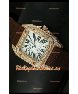 Cartier Santos 100, Réplica en escala 1:1, Reloj color Oro Rosado con Diamantes, tamaño 42MM