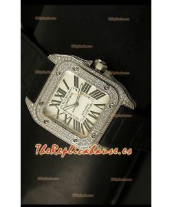 Cartier Santos 100, Réplica en escala 1:1, Reloj de Hombre en Acero con Diamantes, tamaño 42MM