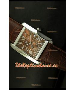 Cartier Tank Anglaise, Reloj Réplica Japonesa, caja de Acero, Dial color Marrón, tamaño 34MM