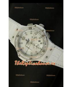 Hublot Big Bang para mujeres, Reloj movimiento de cuarzo, Dial/Correa color Blanco, tamaño 34MM