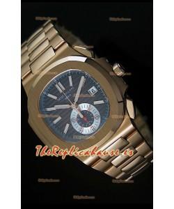 Patek Philippe Nautilus 5980 Reloj Suizo cronógrafo en Oro Rosado - réplica en escala 1:1