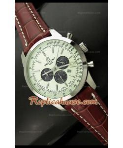 Breitleng Transocean Reloj Japonés de Cuarzo con Esfera Blanca