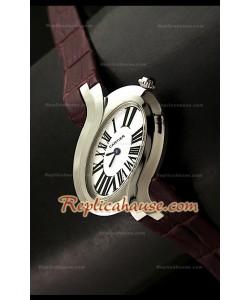 Delices De Cartier Réplica Reloj Señoras con Correa Marrón