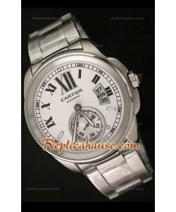 Calibre De Cartier Reloj Automático Japonés con Esfera Blanca