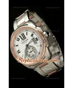 Calibre De Cartier Reloj Japonés Automático de Dos Tonos y con Esfera Blanca