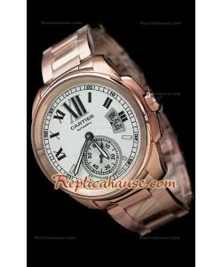 Calibre De Cartier Reloj Automático Japonés de Oro Rosa y con Esfera Blanca