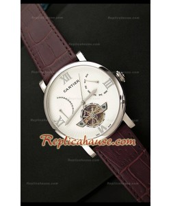 Cartier Tourbllon Reproducción Japonesa del Reloj con Esfera Blanca