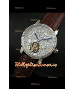 Reloj Turbillón Cartier Calibre con esfera de diamante y malla marrón