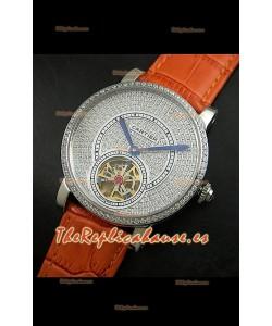 Reloj Turbillón Cartier Calibre con esfera de diamante y malla marrón clara