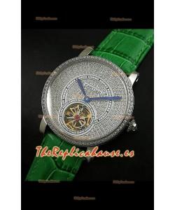 Reloj Turbillón Cartier Calibre con esfera de diamante y malla verde