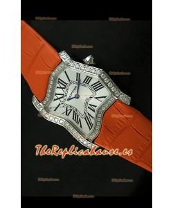 Cartier Tank Folle para damas Réplica Cascasa en malla naranja