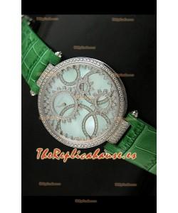 Cartier Réplica Bisel de diamantes Carcasa de acero inoxidable/Malla verde