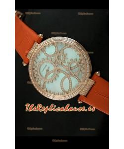 Cartier Réplica Bisel de diamantes Carcasa de oro/Malla naranja