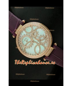 Cartier Réplica Bisel de diamantes Carcasa de oro/Malla castaña