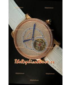 Ronde De Cartier Turbillón Réplica Carcasa de oro rosado/Malla blanca