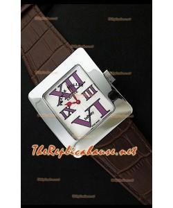 Franck Muller enfenity Réplica Reloj Señoras en Peil Marrón - Números en Púrpura