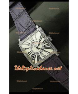 Franck Muller Master Square Reloj con Correa Púrpura y Esfera Blanca